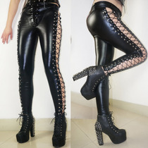 Leggins Latex Pvc Brilloso Pantalones Malla Leggings Negro