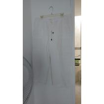 Pantalón Capri De Lino Blanco Con Forro Talla 12