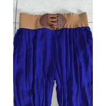 Pantalón Aladin Jogger Shifon Resorte Azul G