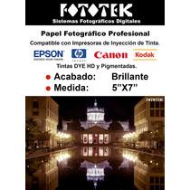 Papel Fotografico 5x7 Para Inyección 100 Fotos