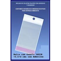 500 Sobres De Celofan Con Cenefa 16x20+2.5+3 Cms Con Adhesiv