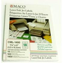 Etiquetas Para Laser + Inkjet + Copiadora Maco Cml-1400 Op4
