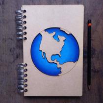 Libreta Mundo Continente Americano Cortada Con Láser