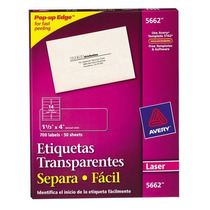 Etiquetas Transparentes 1 1/3 X 4 1/ave-eti-5662 Upc: 07278