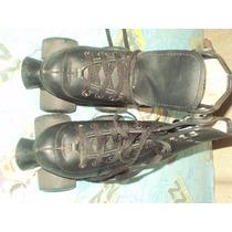 Patines Clasicos Dos Ejes, Color Negro Talla 21 Y 21.5