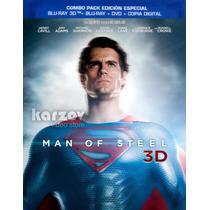 Man Of Steel El Hombre De Acero 3d Blu-ray + 3d + Dvd + Dc
