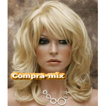 Peluca Super Natural Mediana Capas Color Rubia, Flr