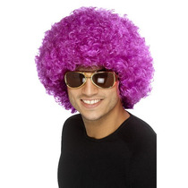 Peluca Disfraz Cosplay Afro Purpura Magenta Sintetica