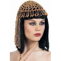 Peluca Disfraz Cosplay Cleopatra Con Tocado Oro