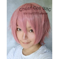 Peluca Corta Rosa Lucky Star Fairy Tail Anime Cosplay