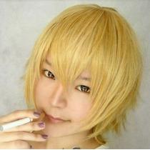 Peluca Corta Rubia Amarilla Naruto Usui Takumi Anime Cosplay