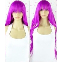 Peluca Bratz Disfraz Cosplay Purpura Extra Larga 85 Cm