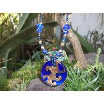 Collar En Cristal Murano Azul