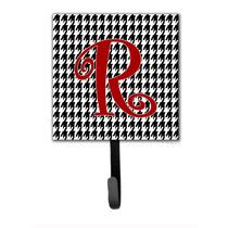 Monograma De La Letra R Inicial - Pata De Gallo Negro Holder