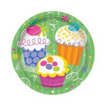 8 Platos Cupcake 7 Pulgadas Desechables De Carton