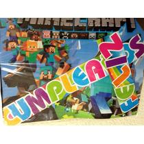 Minecraft Steve Creeper Mantel O Letrero Feliz Cumple Fiesta