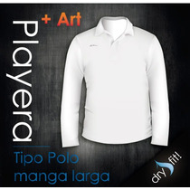 Playera Tipo Polo Manga Larga Dry Fit Con Logotipo Gratis!!