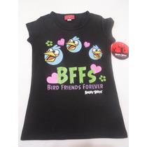 Playera Blusa Para Niña Angry Birds Negra 4 Años Hm4