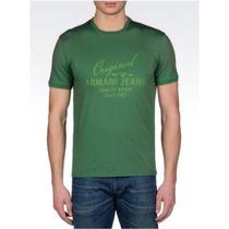 Playera Verde Armani Jeans Con Logo Estampado