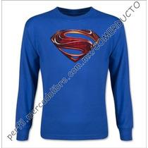 Playera Man Of Steel Manga Larga Playera Superman