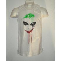 Playera Camiseta Batman Joker Guasón Acuarela C/s Manga