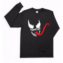 Playera Venom Manga Larga Superheroes Spiderman Promo 4x5