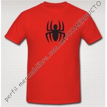 Playera Spiderman Playera Hombre Araña Roja Logo Comic Kmbw