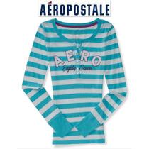 Playera L Aeropostale Henley Manga Larga Grande Azul Rayas!!