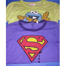 Lote De 2 Tops Nuevos Talla M Superman Cookie Monster Remate