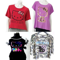Hello Kitty Lote De 4 Tops Nuevos Original De Sanrio Remate!