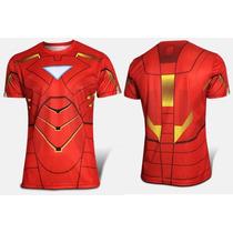 Camiseta Iron Man Roja Lycra Original Playera Avenger