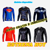 Playeras Super Heroes, Manga Larga, Estampadas 3d Batman Y +
