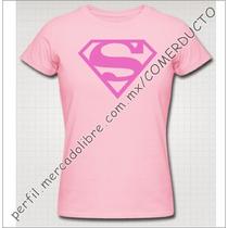 Playera Superman Clasico Dama Rosa Vinil Textil