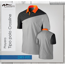 Nueva Playera Dry-fit Tipo Polo Crossline Logo Gratis