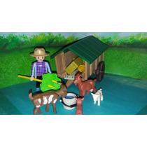 Playmobil Granjero Campesino Con Carreta Y Cabras Granja Js