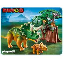 Playmobil 5234 Triceratops Con Bebe Dinosaurios !!!