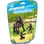 Playmobil 6639 Animales Zoo Gorila Con Crias Bebe Safari Js