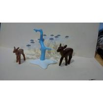 Playmobil Ciervo Venado Con Árbol De Hielo Animales Zoo Js
