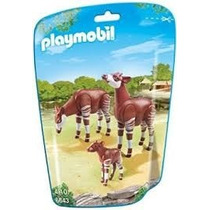 Playmobil 6643 Animales Zoo Okapis Con Cria Bebe Safari Js