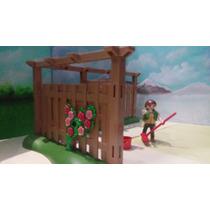 Playmobil Ref 4280 Cerca O Reja De Madera Para Jardin Js