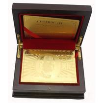 Cartas Barajas Poker De Oro 24k Chapa Con Caja De Madera Lux