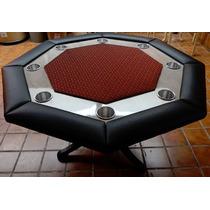 Mesa De Poker Octagonal Con Pano Profesional Rojo