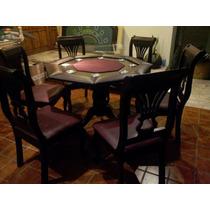 Mesa De Poker Octagonal Con Sillas Y Paño Profesional