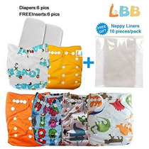 Reutilizables Del Paño Del Bebé Pañales Pocket Pc 6 + 6 Inse