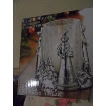 Portavela Navideño Cristal Y Resina Plateado Candel Holder