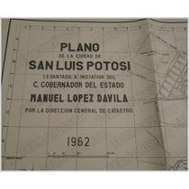 Poster Plano Ciudad De San Luis Potosi Slp - Vintage 1962