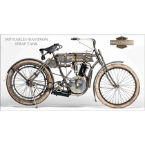 Lienzo Tela Poster Motocicleta Harley Davidson 1907 115x220