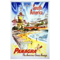 Lienzo Tela Poster Pan American A Sur América 75 X 50 Cm