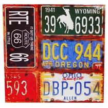 Poster Lámina Placas Auto Route 66 Vintage Decoración