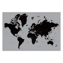 Mapa Del Mundo Cartel - Plata Contemporáneo Maxi 61x 91cm 6